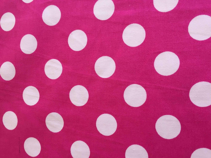 Fuchsia & White Large Spot - Super Cheap Fabrics
