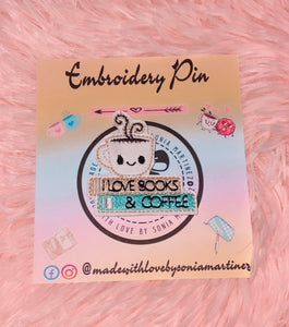 I Love Book And Coffee Pin