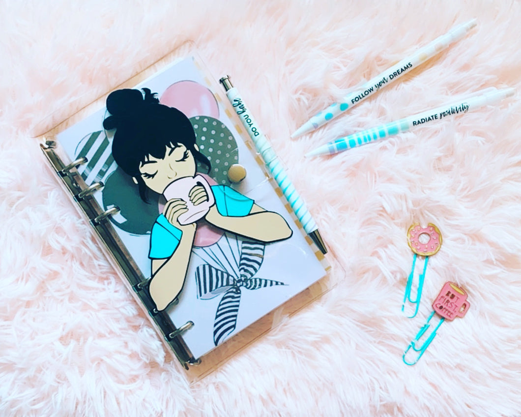 Girl Coffe Binder Notebook