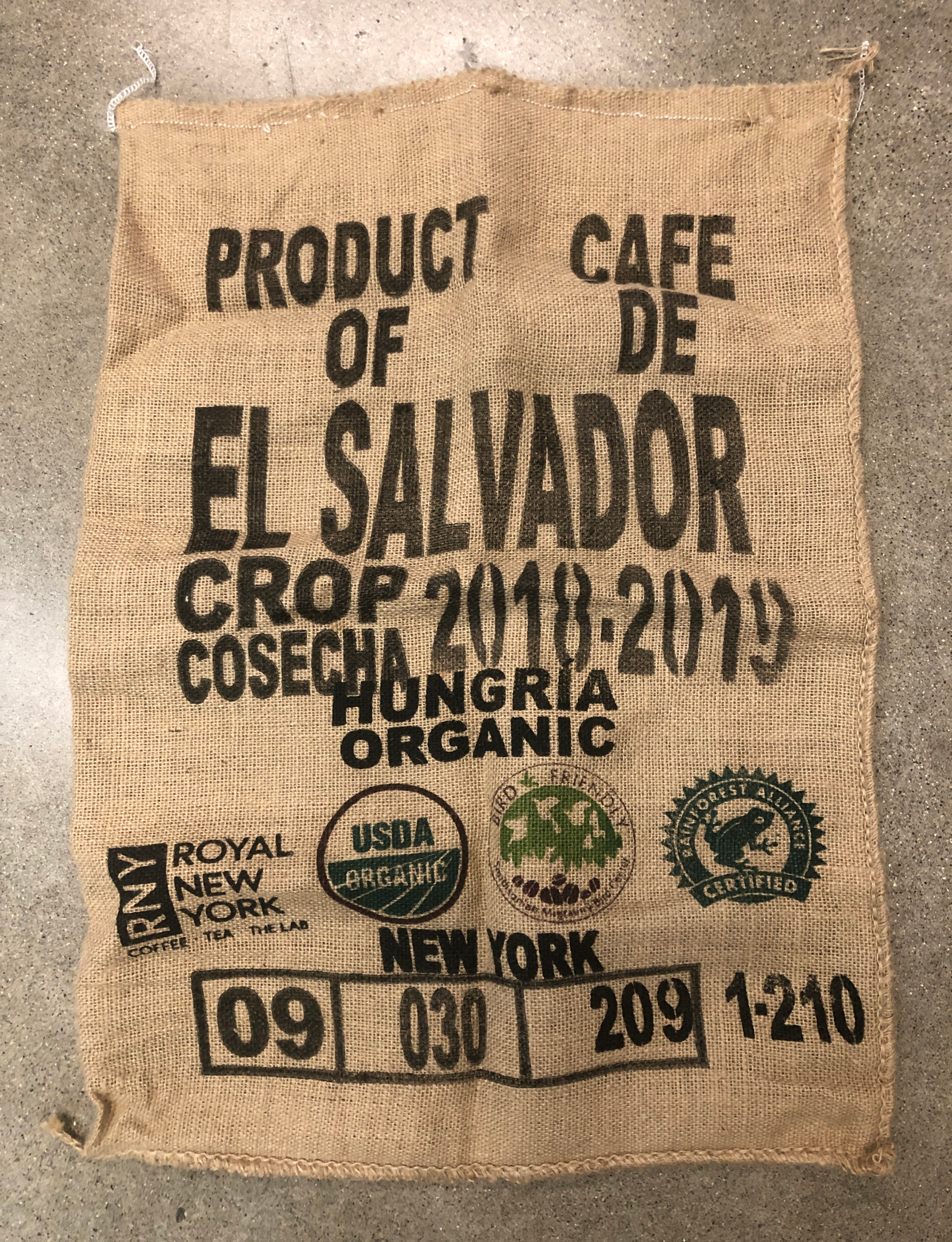 El Salvador Bird Friendly® Burlap Coffee Bag *RARE*