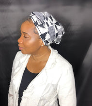 Load image into Gallery viewer, 2 in 1 Satin-lined Headwrap - Black + White Kente Print