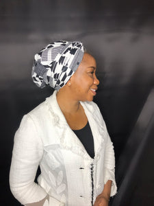2 in 1 Satin-lined Headwrap - Black + White Kente Print