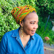 Load image into Gallery viewer, 2 in 1 Satin Lined Headwrap - Golden Kente Print
