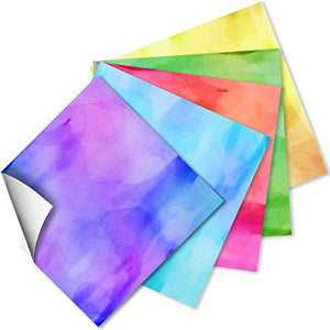 Craftopia Craft Vinyl Squares - 12 x 12-Inch Watercolor Patterned Sheets for Design Transfers DIY Crafts, Scrapbooking - Decorative Supplies for Decals & Signs