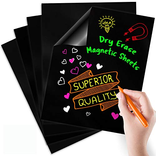 "Magnetic Dry Erase Sheets | Black Blank 12"" x 16"" Chalkboard Look Magnet for Refrigerator 
