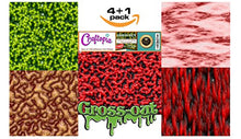 Load image into Gallery viewer, Craftopia's Gross-Out Pattern Self Adhesive Craft Vinyl Sheets | 4+1 Assorted Vinyl Pack for Cricut, Silhouette Cameo, Craft Cutters, Printers, Letters, Decals