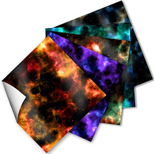 Craftopia Craft Vinyl Squares - 12 x 12-Inch Galaxy Space Patterned Sheets for Design Transfers DIY Crafts, Scrapbooking - Decorative Supplies for Decals & Signs