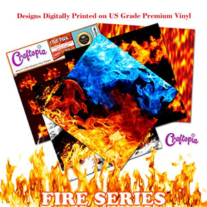 Craftopia's Fire/Flames Printed Pattern Self Adhesive Craft Vinyl Sheets | 4+1 Assorted Vinyl Pack for Cricut, Silhouette Cameo, Craft Cutters, Printers, Letters, Decals, Stickers