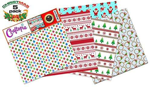 Craftopia's Christmas Pattern Self Adhesive Craft Vinyl Sheets | 4+1 Assorted Vinyl Pack for Cricut, Silhouette Cameo, Craft Cutters, Printers, Letters, Decals