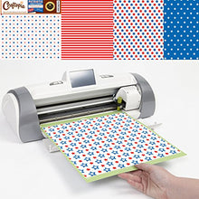 Load image into Gallery viewer, Patriotic Pattern Vinyl Sheets 4th of July Prints 4+1 Pack | USA American Flag Stars & Stripes Red White Blue Printed Pattern for Cricut Silhouette Cameo Craft Cutter | Comparable to Oracal 651