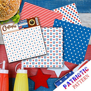 Patriotic Pattern Vinyl Sheets 4th of July Prints 4+1 Pack | USA American Flag Stars & Stripes Red White Blue Printed Pattern for Cricut Silhouette Cameo Craft Cutter | Comparable to Oracal 651