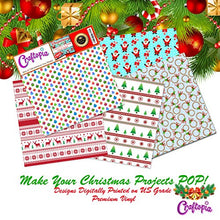 Load image into Gallery viewer, Craftopia's Christmas Pattern Self Adhesive Craft Vinyl Sheets | 4+1 Assorted Vinyl Pack for Cricut, Silhouette Cameo, Craft Cutters, Printers, Letters, Decals