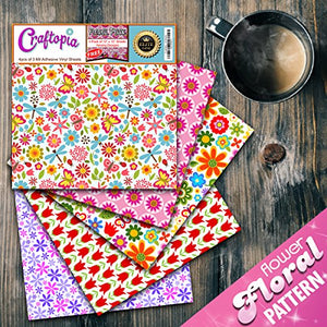 Craftopia's Flower Floral Pattern Self Adhesive Vinyl Sheets | 4+1 Assorted Vinyl Pack for Cricut, Silhouette Cameo, Craft Cutters, Printers, Letters, Decals