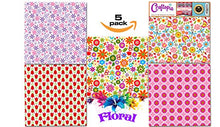 Load image into Gallery viewer, Craftopia's Flower Floral Pattern Self Adhesive Vinyl Sheets | 4+1 Assorted Vinyl Pack for Cricut, Silhouette Cameo, Craft Cutters, Printers, Letters, Decals