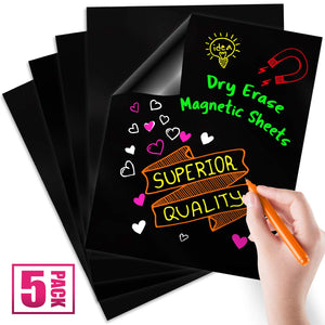 "Black Magnetic Dry Erase Sheets, 12"" x 16"", 5 Pack"