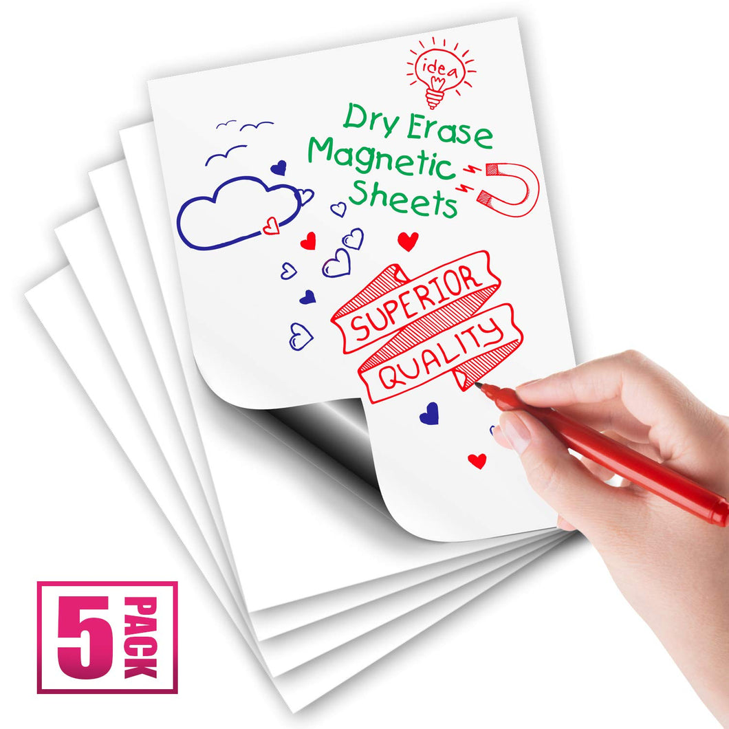 White Magnetic Dry Erase Sheets, 12