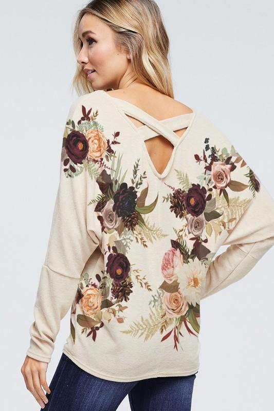 Floral Cross back sweater