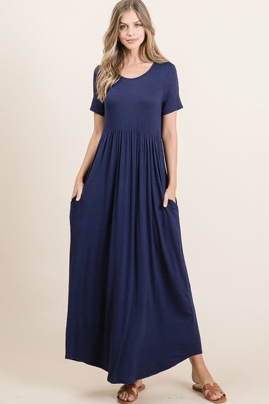 Maxi dress with pockets in Navy