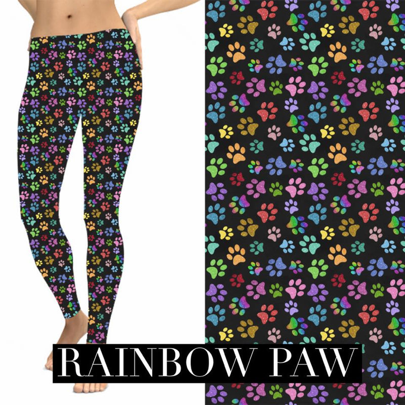 Pocket Leggings: Rainbow Dog Paws