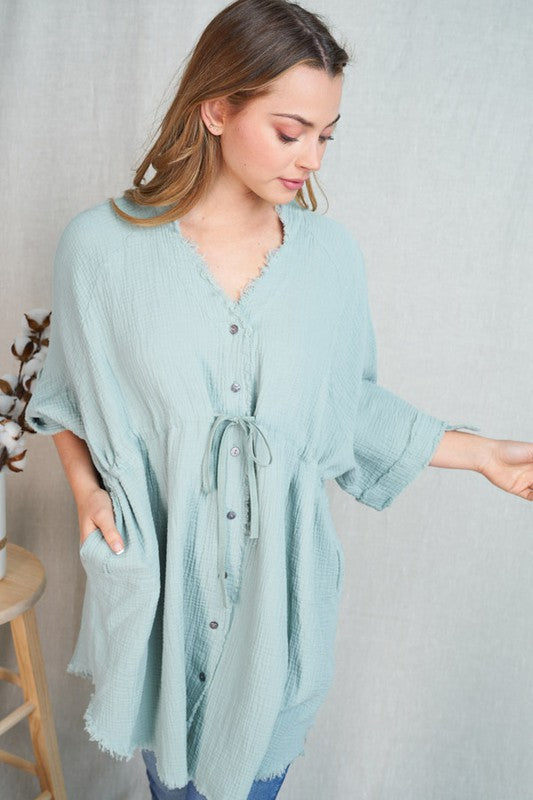 Sage Green Button down Tunic