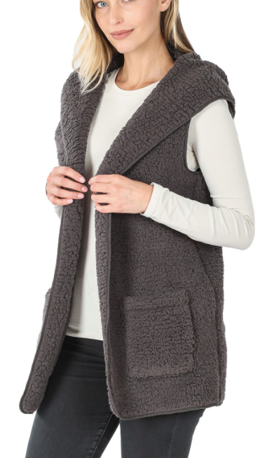 Sherpa Vest with hood