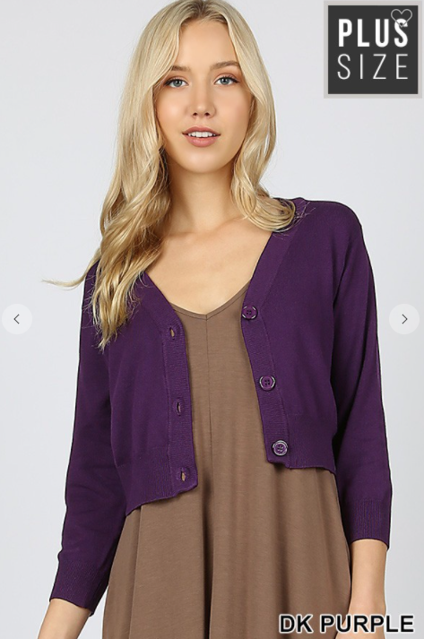 Cropped Cardigan Dark Purple