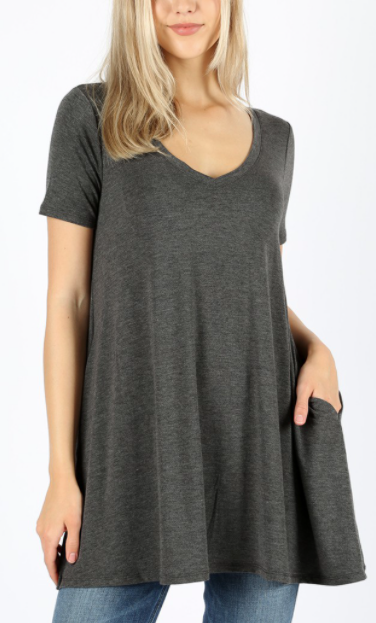 Short Sleeve Flared Tunic w/Pockets