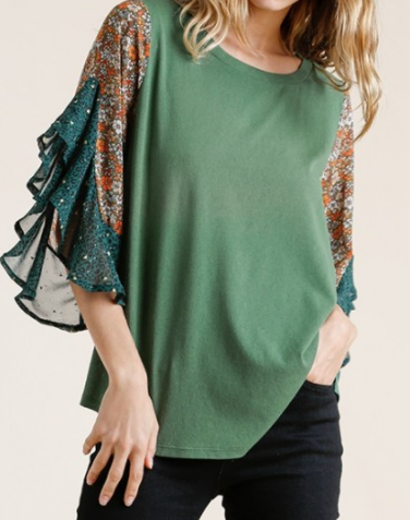 Floral & Animal Print Bell Sleeve Top
