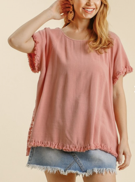 Linen Blend Lace Back top