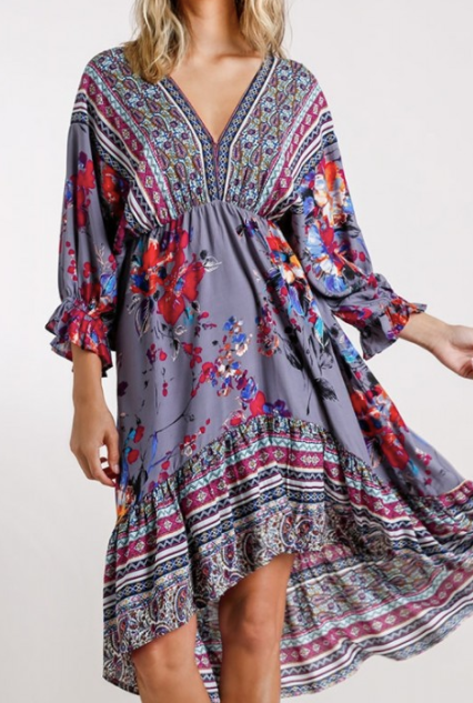 V-Neck Floral and Paisley Print Midi Dress