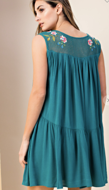 Hunter Green Embroidered Tunic Dress