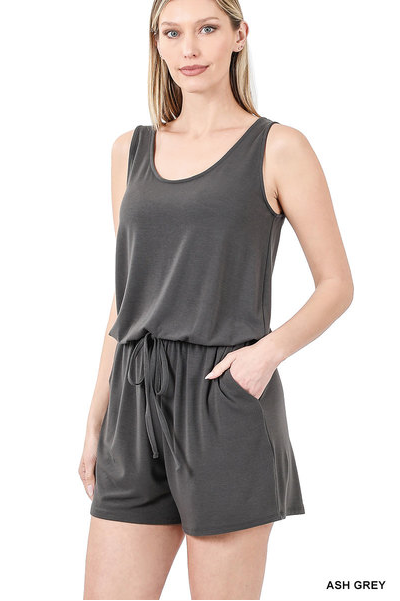 Gray Tank Romper with pockets