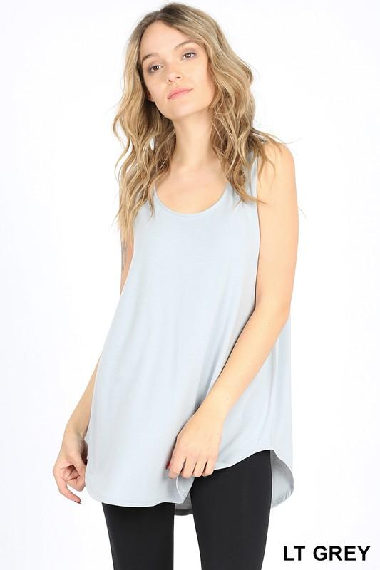 Basic Casual Round Hem Tank Top - Multiple colors-Feather & Quill Boutique