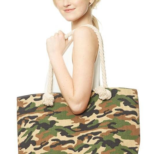 Beach Tote Bag Camo-Feather & Quill Boutique
