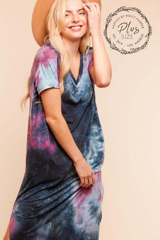 Blue and Purple Tie dye maxi dress - Feather & Quill Boutique