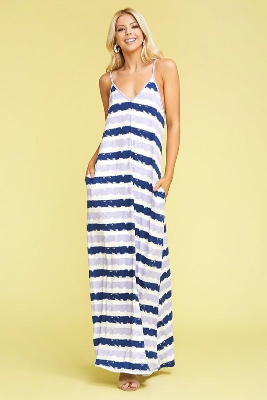 Blue Tie dye Maxi Dress - Feather & Quill Boutique