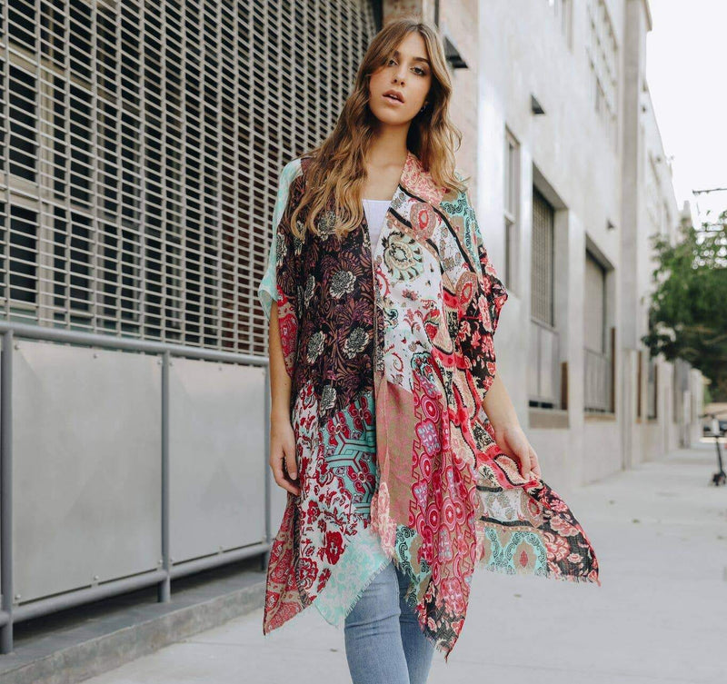 Boho Floral Patchwork Kimono - Feather & Quill Boutique