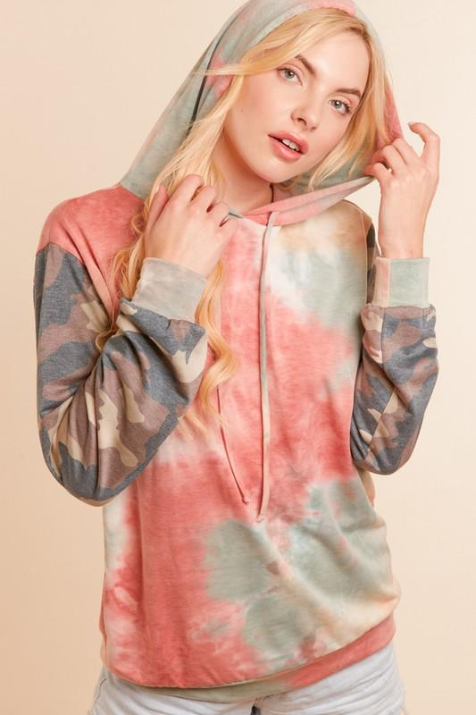 Camo and Fall colored tie dye Hoodie - Feather & Quill Boutique