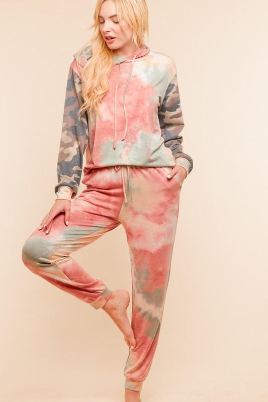 Camo and Fall colored tie dye Joggers - Feather & Quill Boutique