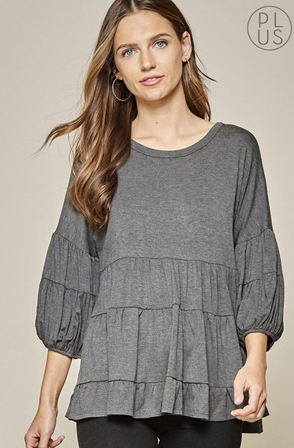 Charcoal Babydoll Knit Top - Feather & Quill Boutique