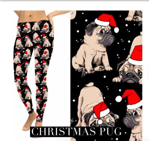 Christmas Leggings - Christmas Pug - Feather & Quill Boutique