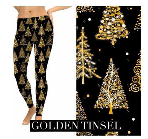 Christmas Leggings - Golden Tinsel - Feather & Quill Boutique