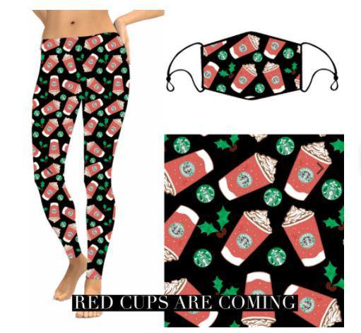 Christmas Leggings - Red Cups - Feather & Quill Boutique