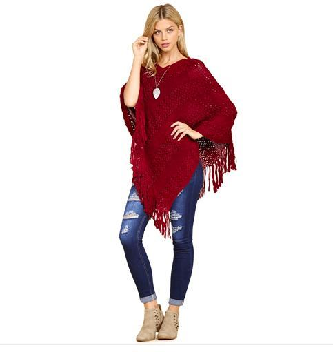 Classic Fringe Burgundy Poncho - Feather & Quill Boutique