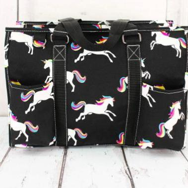 ENCHANTED UNICORN BLACK UTILITY TOTE-Feather & Quill Boutique