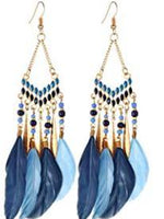 Feather Dangle Earrings - 16 color choices-Feather & Quill Boutique
