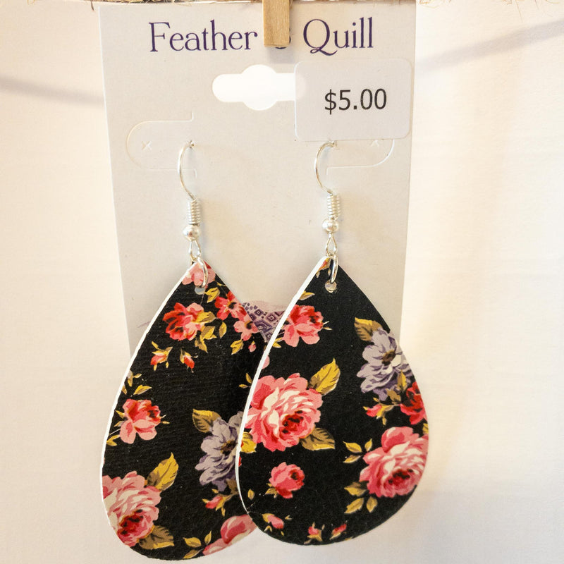 Floral Leather earrings-Feather & Quill Boutique