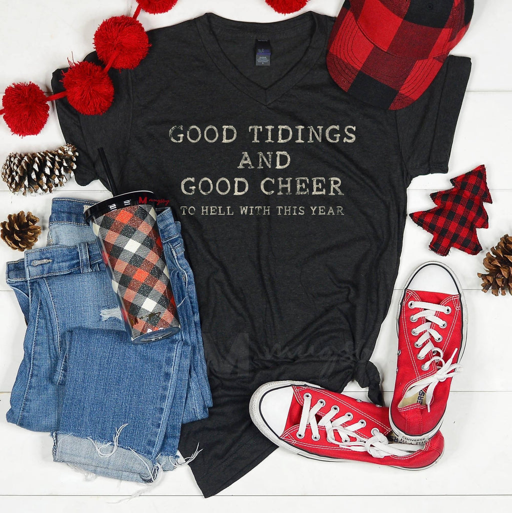Graphic tee: Good Tidings and Good Cheer.. - Feather & Quill Boutique