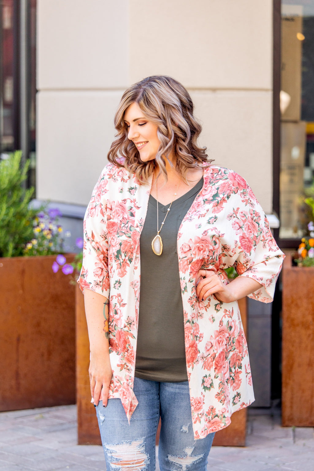 Ivory Floral Kimono-Feather & Quill Boutique
