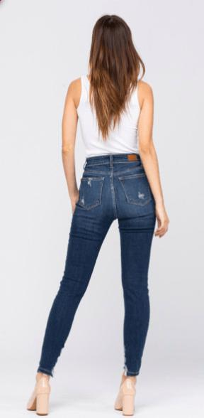 Judy Blue Skinny High Rise Distressed Cropped Jeans - Feather & Quill Boutique